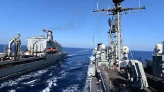 replenishment at sea uss vella gulf cg 72 and usns leroy grumman t ao 195