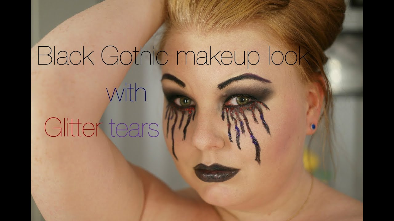 Black makeup look with glitter tears (❤Epic Fail) Halloween ...