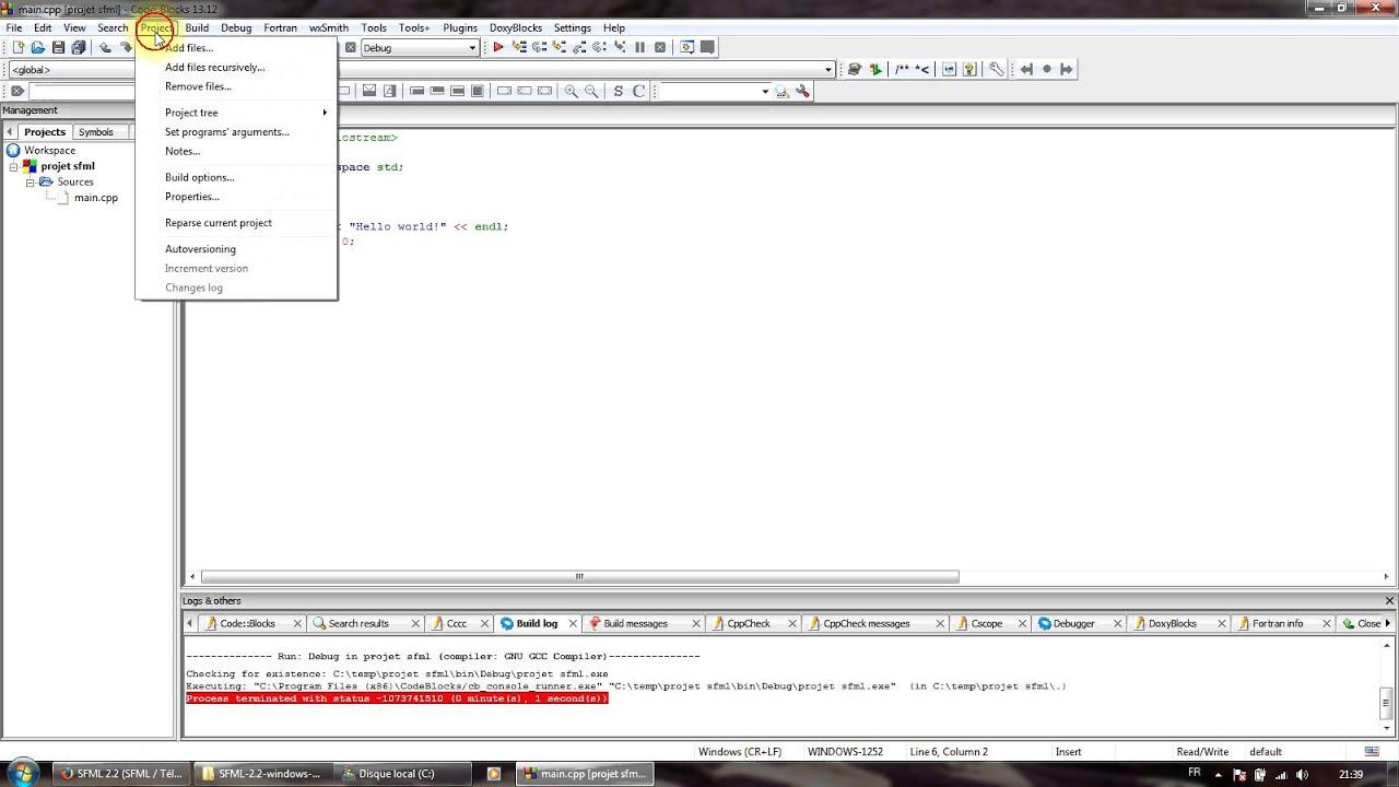 [Tuto] Comment créer un projet SFML en C++ sur Code::Blocks