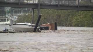BOAT crashing INTO BRIDGE