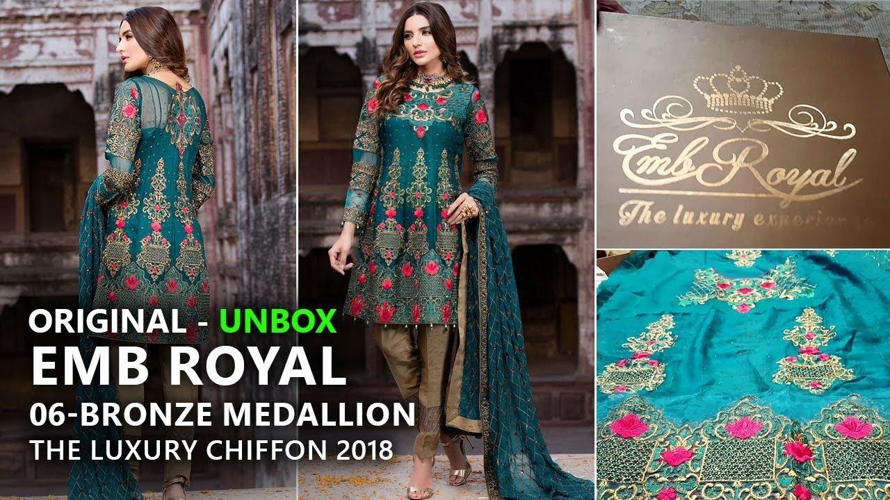 905105ea9e Embroyal Collection 2018 - Unbox 06 Bronze Medallion Chiffon - Pakistani  Branded Dresses