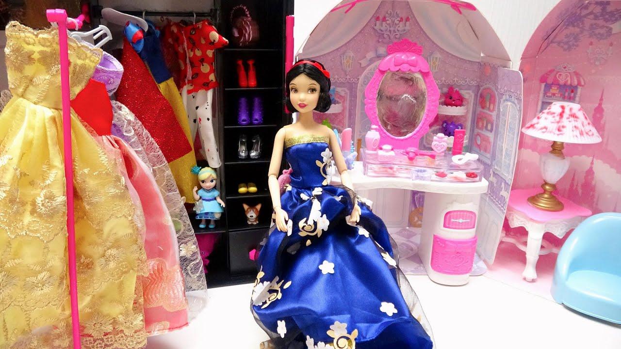 白雪姫 お姫様のお部屋でディズニープリンセスドレスに大変身 人形✨手作り工作 DIY❤️ Barbie Dolls Shoes Crafts