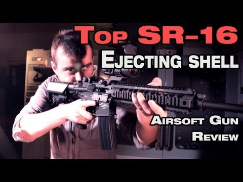 Airsoft shell ejecting Top Knight's SR16 URX II EBB ault rifle