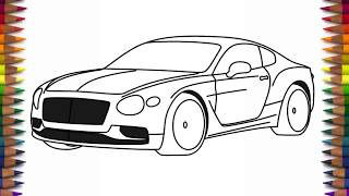 How to draw Bentley Continental concept step by step