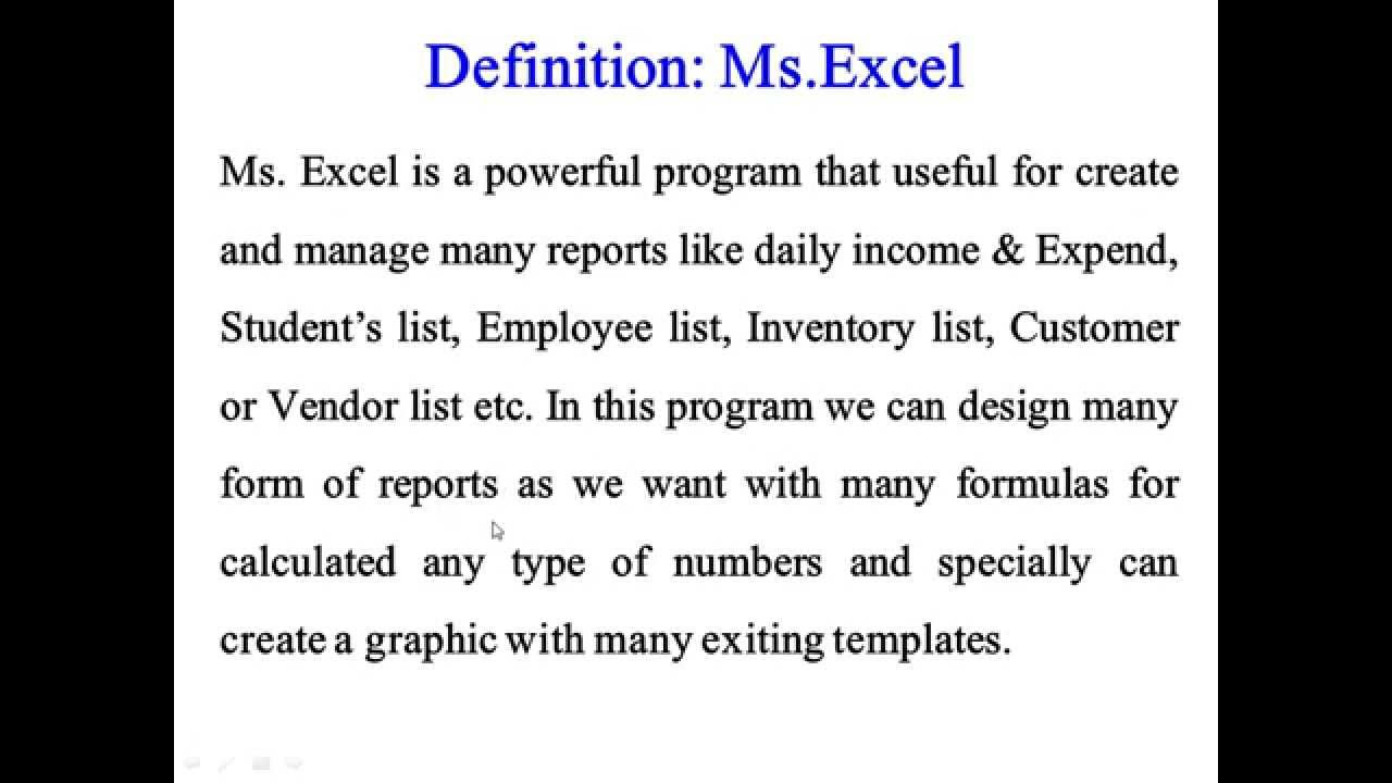 1 definition of ms excel