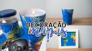 DIY – Ideias FÁCEIS e BARATAS de decoração com MAPAS