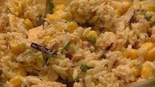 Prosta i szybka sałatka z tuńczykiem, ryżem i kukurydzą, KitchenBook
