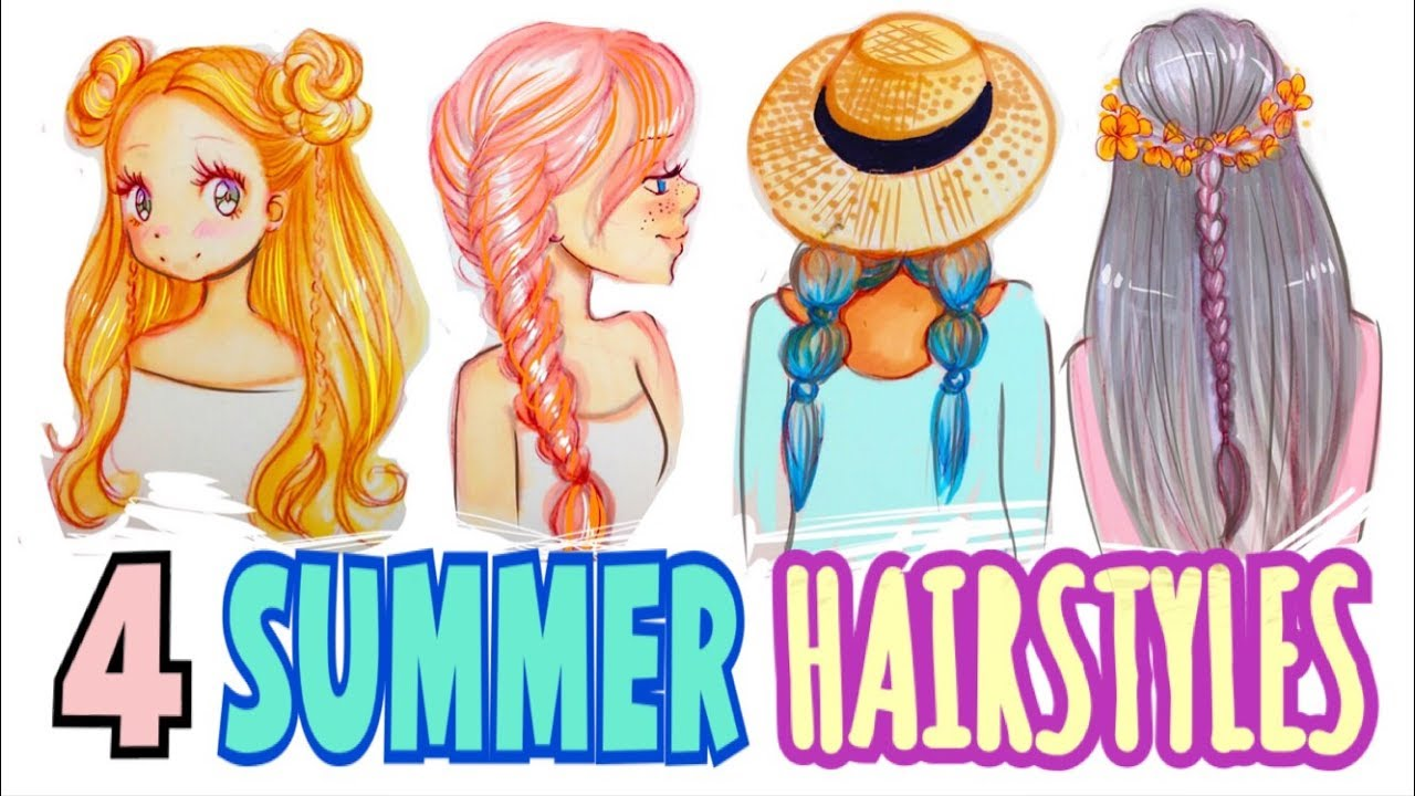 how to draw 4 summer hairstyles youtube