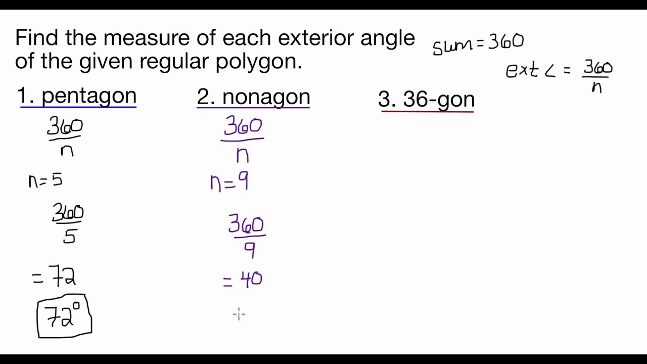 Find The Measure Of Each Exterior Angle Of The Given
