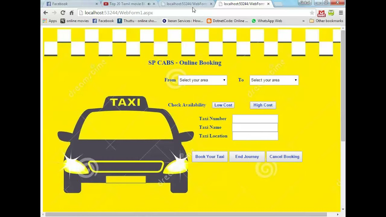 Online Taxi Booking System using asp net