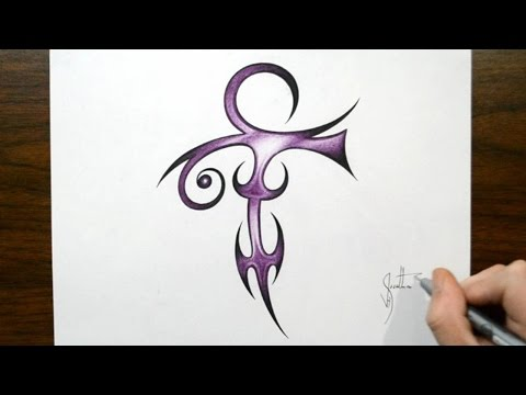 How to Draw Prince Symbol - Tribal Tattoo Design Style
