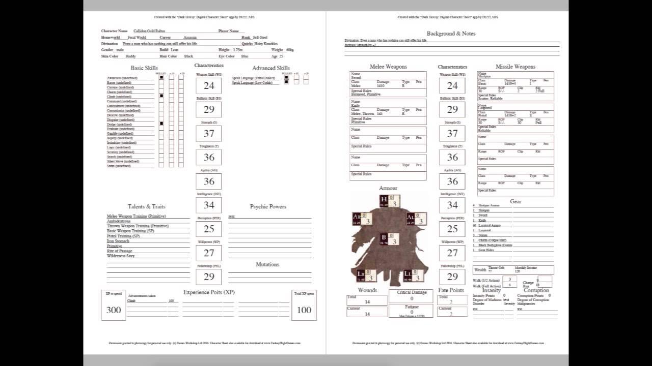 Dark Heresy Digital Character Sheet: PDF Generation