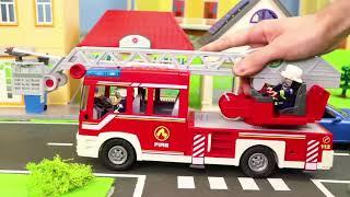 Pelleteuse, tractopelle, Camion de pompier, voiture de police, trains jouets - Excavator Toys
