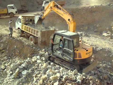 Hyundai Excavator R80 in Quarry.MOV