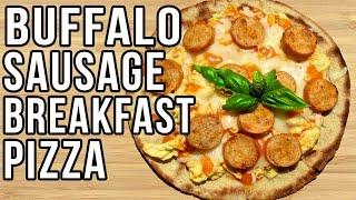 Healthy Buffalo Chicken Breakfast Pizza!