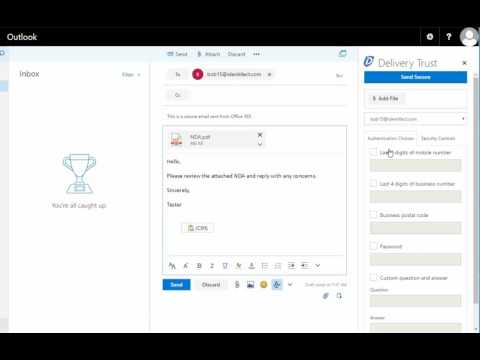 Sending a Secure Email from the Delivery Trust Outlook Web App