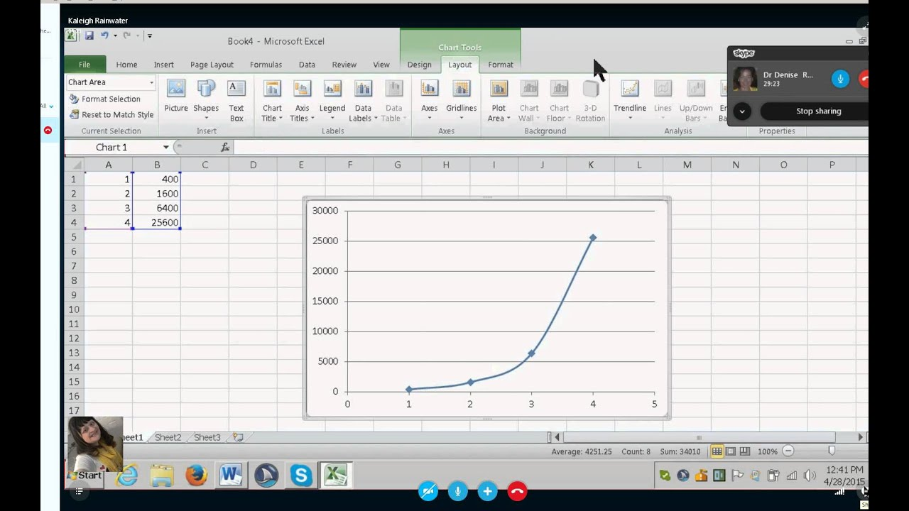 Math- make a curved line in a graph using Excel --option with talking  software