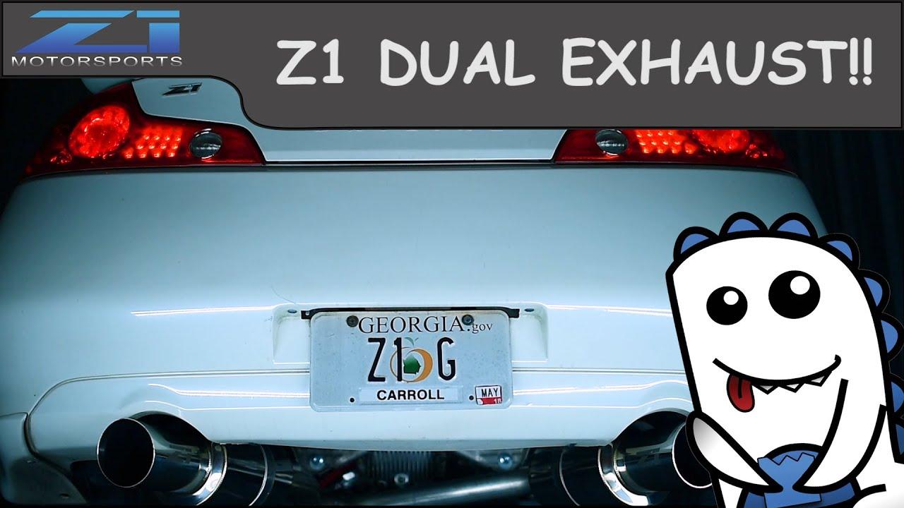 z1 motorsports m spec g35 coupe cat back back dual exhaust