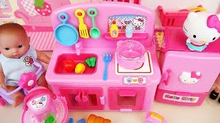 Baby doll and Hello Kitty mini kitchen toys Baby Doli play
