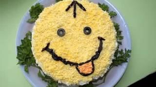 """Готовим творожный салат с грибами """"Улыбка"""""""