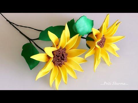 DIY : Foam Sheet Sunflowers / Easy Flower Art | Priti Sharma