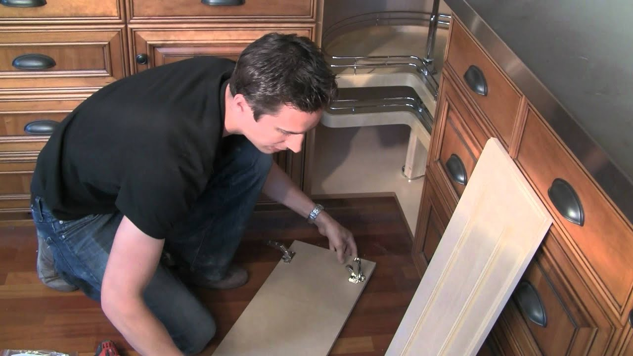 How to install bi fold lazy susan cabinet doors - YouTube