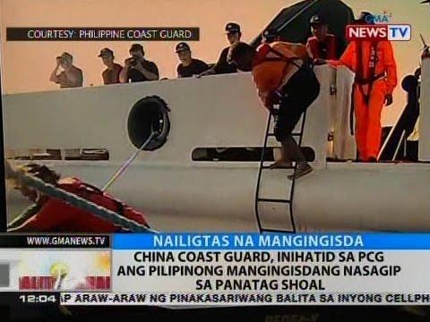 BT: China coast guard, inihatid sa PCG ang Pilipinong mangingisdang nasagip sa Panatag Shoal