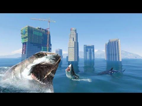 GTA 5 TSUNAMI MOD vs. 100 SHARKS (GTA 5 Mods)