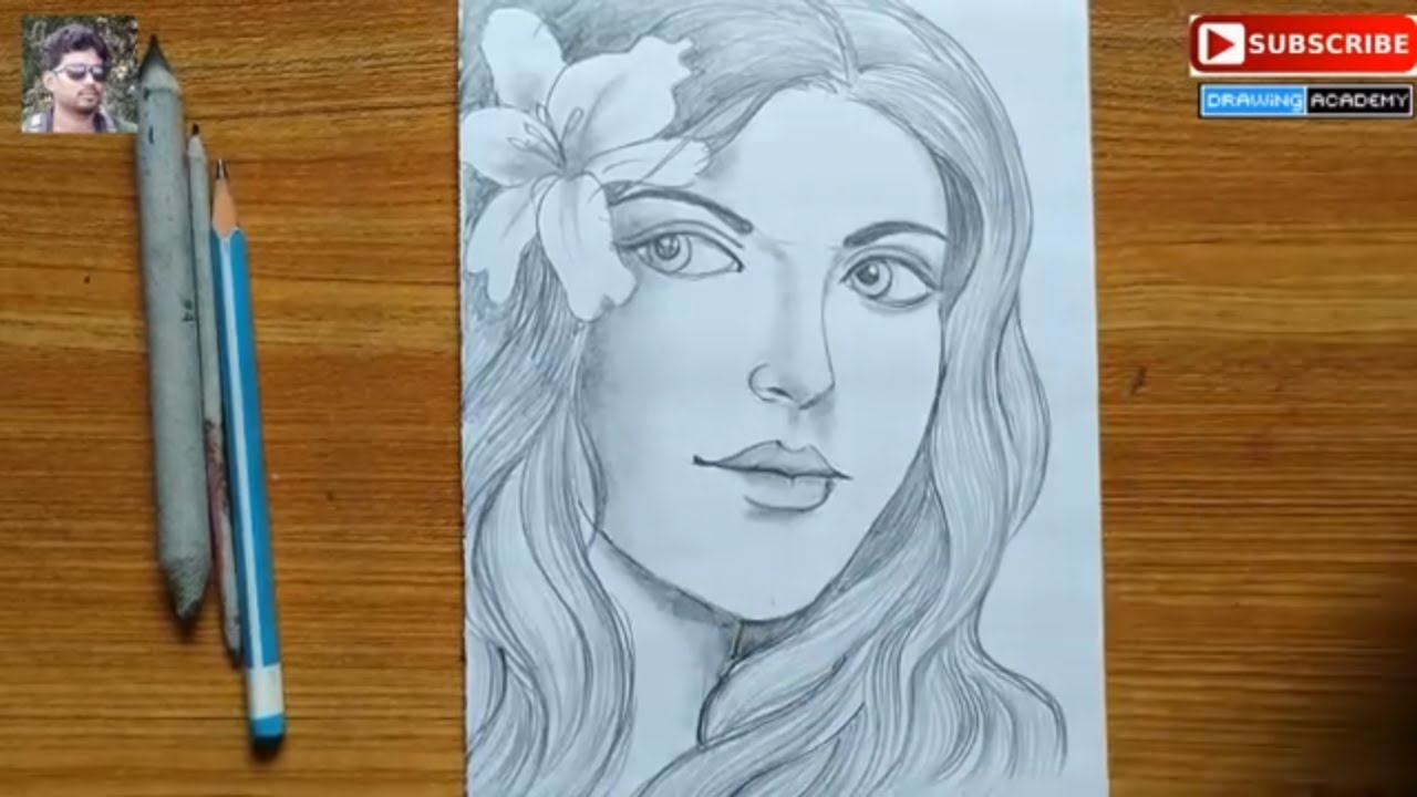 a girl with beautiful hair pencil sketch drawng, how to draw a girl,easy face drawing,portrait draw #1