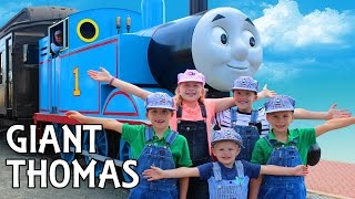REAL LIFE THOMAS THE TRAIN RIDE!! Kids Jumpy Bounce House, Maze, Petting Zoo Family Fun Day!