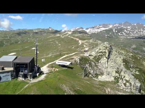 Helicopter approach and landing at Crap Sogn Gion