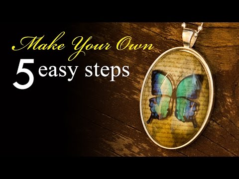 How to Make a Vintage Butterfly Pendant Necklace - silver oval bezel necklace - Kraft Fun tutorial