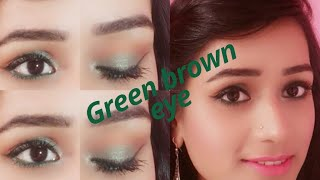 Green brown eye look|| Jazz Beauty World