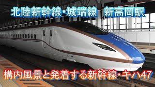 北陸新幹線(城端線)新高岡駅の構内風景と発着する列車(W7・E7系新幹線、キハ47)2019.7.16撮影