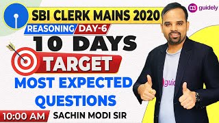 10 AM - SBI Clerk Mains Reasoning | Most Expected Questions | Sachin Sir | Guidely