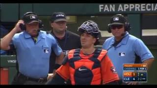 UMPIRES BLOW CALL - A FOUL was ruled a WILD PITCH in Cleveland (Sept 8)