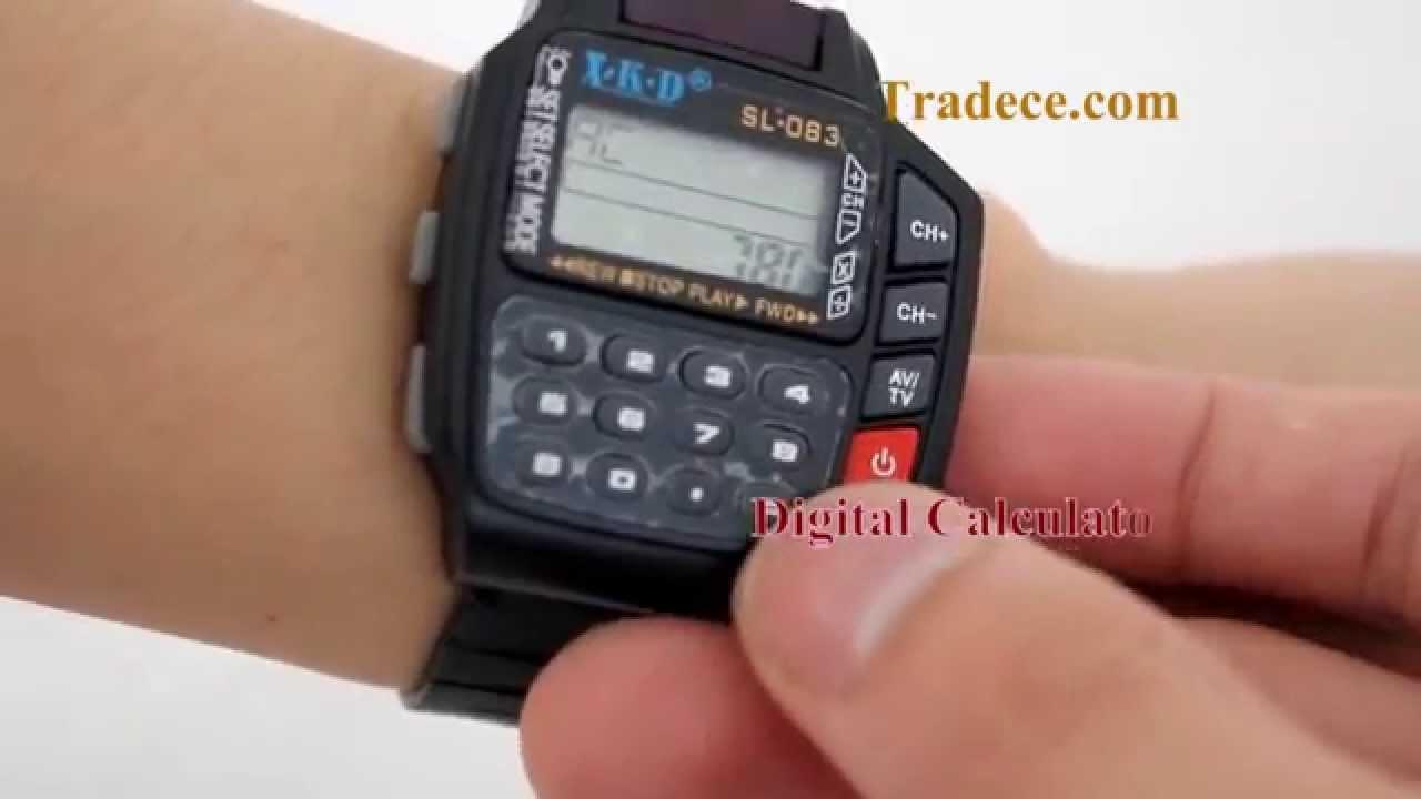 Multi Function Remote Control Digital Calculator Wrist Watch - YouTube