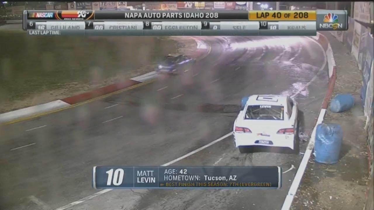 NASCAR K&N Pro Series West 2017  Meridian Speedway  Matt Levin Hard Crash