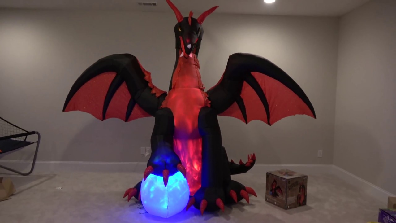 Inflatable Christmas Dragon.Gemmy Halloween Airblown Inflatable Red Dragon With Orb Lowes New For 2017 Kaleidoscope