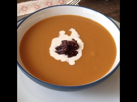 Thanksgiving Menu - Sweet Potato Soup with Spicy Pecans
