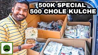 500k Special 500 Chole Kulche | Indian Street Food | Veggiepaaji