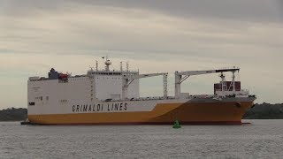 Grimaldi lines ro-ro cargo vessel 'grande gabon' arrives into southampton this morning 27th may 2019 from her last port call of valencia in spain for an esti...