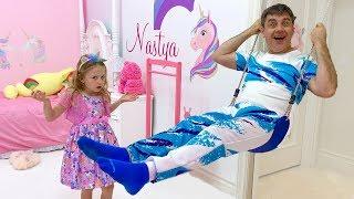 Nastya and her new room with a unicorn