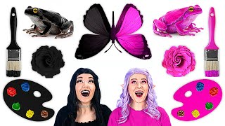BLACK VS PINK ART SCHOOL || Drawing Challenge! Funny Painting Handmade by 123 GO! SCHOOL