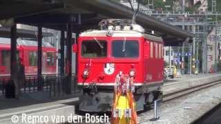 Die Rhätische Bahn in Bahnhof Chur 9 september 2013