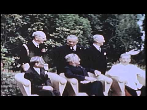 Harry Truman, Clement Attlee and Joseph Stalin at Cecilienhof Palace in Potsdam, ...HD Stock Footage