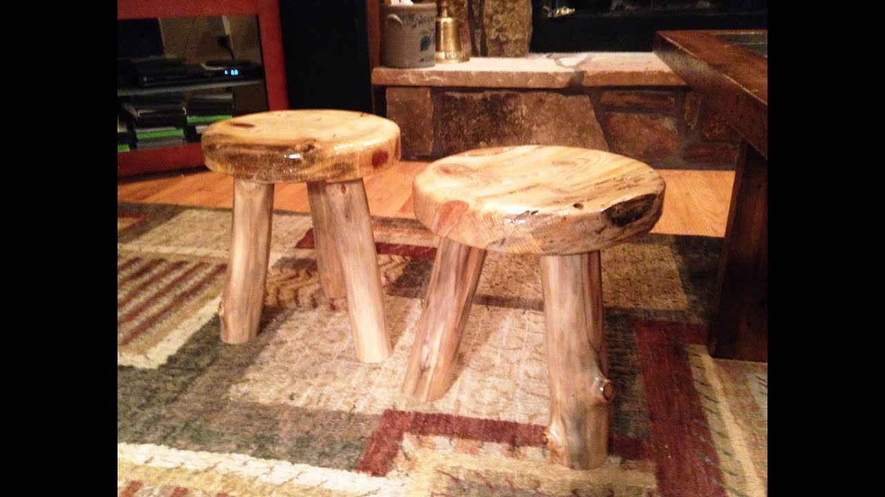 How To Make A Rustic 3 Legged Stool Youtube