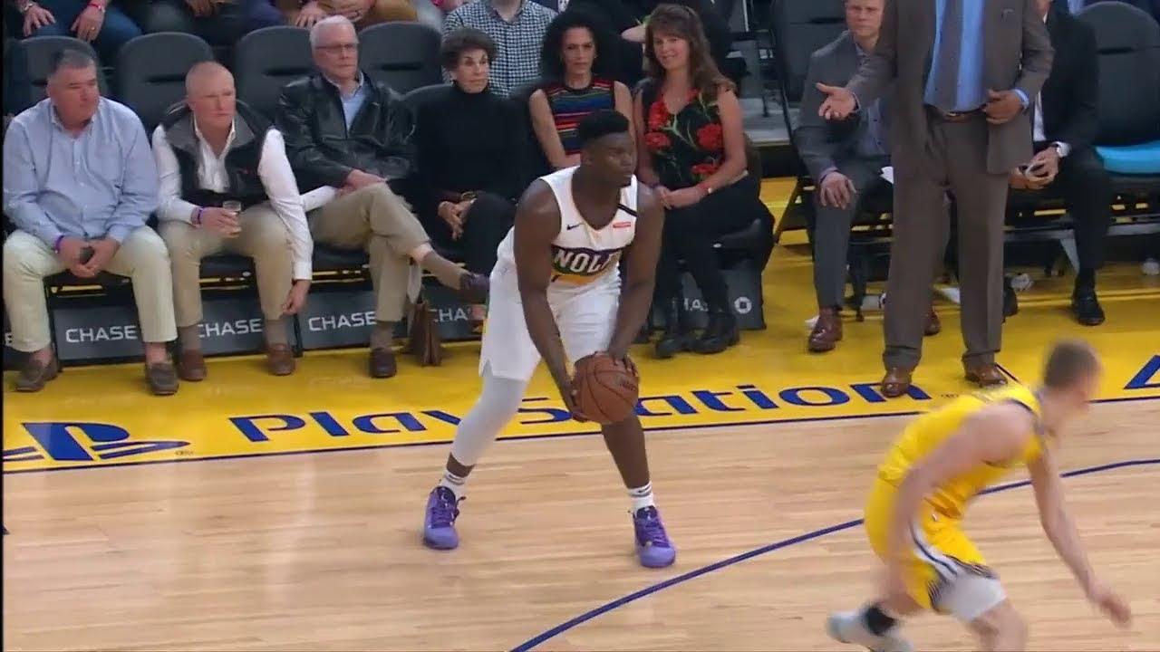 Zion Williamson Makes The Defender Stumble Pelicans Vs Warriors