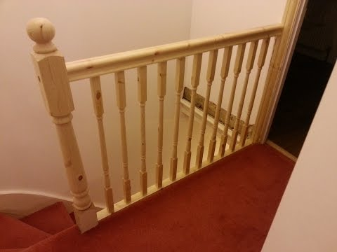 How to replace banister, newel post handrail and spindles on a stair case in HD 1080p
