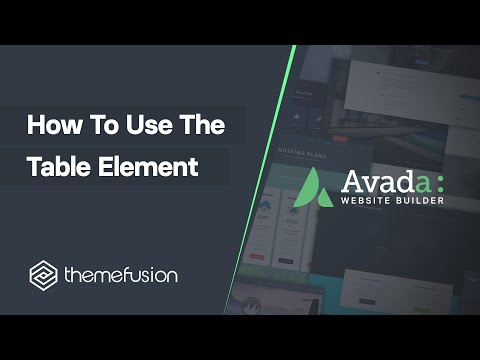 How To Use The Table Element Video